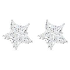 2.03 Carat Total Kite Shaped Diamonds in 18 Karat Gold Star Shaped Earrings