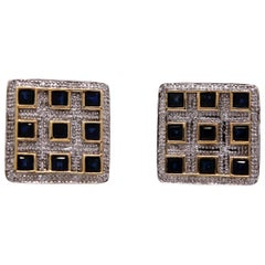 4.10 Carat Princess Cut Sapphire and Diamond Cufflinks