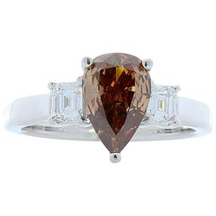 GIA Certified 1.20 Carat Pear Shaped Fancy Brown Diamond Cocktail Ring