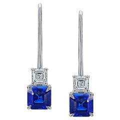 1.31 Carat Blue Asscher Cut Sapphire and Diamond Platinum Earrings