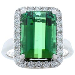 6.60 Carat Emerald Cut Green Tourmaline and Diamond Cocktail Ring in 18 Karat