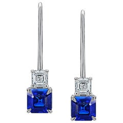 1.78 Carat Blue Asscher Cut Sapphire and Diamond Platinum Earrings
