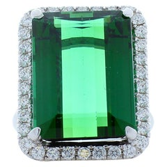 16.30 Carat Emerald Cut Green Tourmaline and Diamond Ring in 18 Karat White Gold