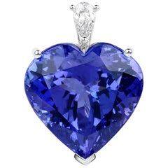 34.94 Carat Tanzanite Diamond 18 Karat White Gold Pendant Necklace