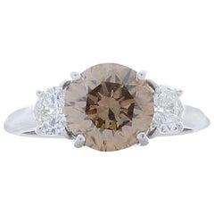 GIA Certified 2.26 Carat Natural Fancy Brown Diamond Cocktail Ring in 18 Karat