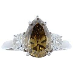 GIA Certified 2.63 Carat Fancy Brown Diamond Cocktail Ring in 18 Karat Gold