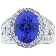 5.48 Carat Oval Tanzanite and Diamond Cocktail Ring in 18 Karat White Gold