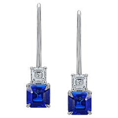 1.90 Carat Blue Asscher Cut Sapphire and Diamond Platinum Earrings