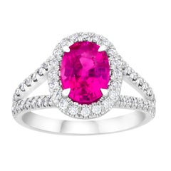 2.47 Carat Oval Pink Sapphire and Diamond Ring