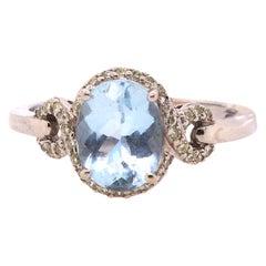 1.72 Carat Aquamarine and Diamond Ring