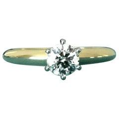 Tiffany & Co. 18 Karat Yellow Gold Diamond .50 Carat Round Engagement Ring