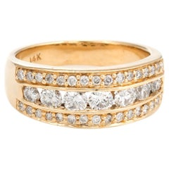 Estate 1.16 Carat Diamond Band Vintage 14 Karat Yellow Gold Channel Set Jewelry