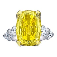20.26 Carat Yellow Cushion Sapphire and Diamond Ring