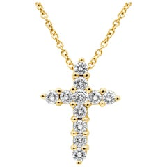 Roman Malakov, 1.04 Carat Diamond Cross Pendant Necklace in Yellow Gold