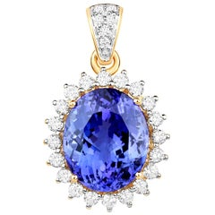 7.62 Carat Tanzanite Diamond 18 Karat Yellow Gold Pendant Necklace