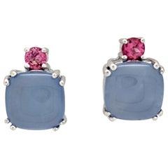 14 Karat White Gold Cabochon Cut Purple Jade and Pink Tourmaline Earrings