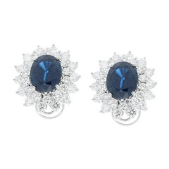 7.00 Carat Total Oval Blue Sapphire and Diamond Earrings in 14 Karat White Gold