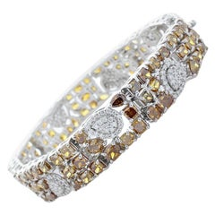25.66 Carat Total Fancy Brown Diamonds Bracelet in 18 Karat White Gold