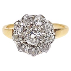 Victorian Old European Cut Diamond Platinum on Gold Engagement Ring