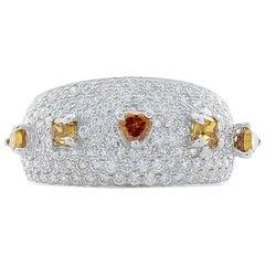 1.72 Carat Total Fancy Brown Diamonds Cocktail Ring in 18 Karat White Gold