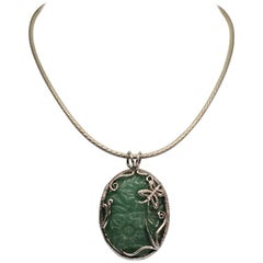 Sterling Silver Hand-carved Jade Stone Pendant Necklace