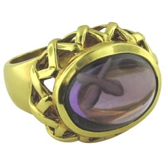 "Signed ""Paloma Picasso"" 18 Karat Yellow Gold Amethyst Ring"