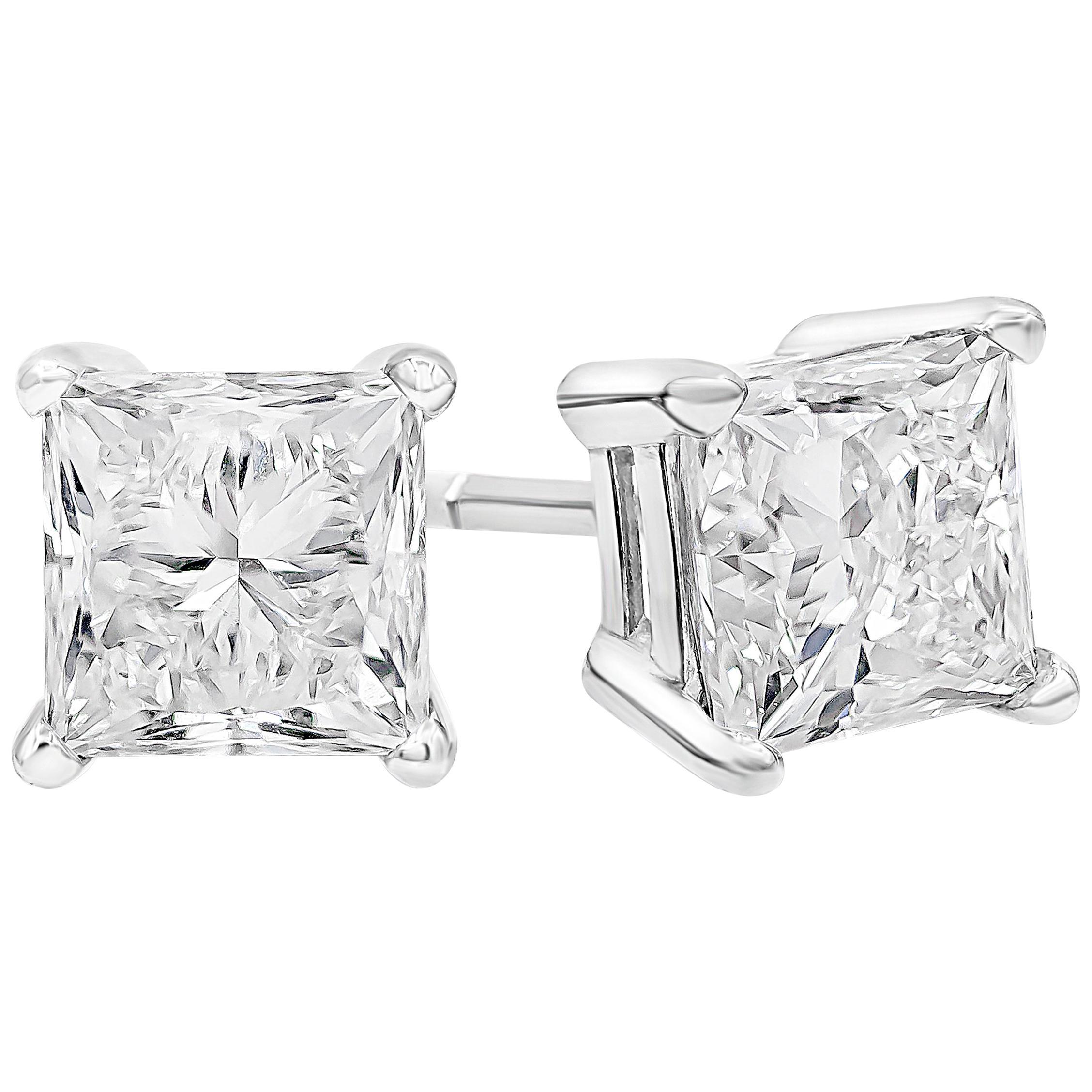 Roman Malakov, 1.90 Carat Total Princess Cut Diamond Stud Earrings