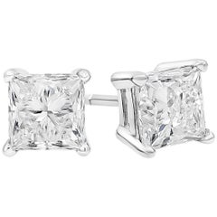 1.90 Carat Total Princess Cut Diamond Stud Earrings