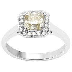1.09 Carat Yellow Diamond and 0.18 Carat Diamond 18 Karat White Gold Ring