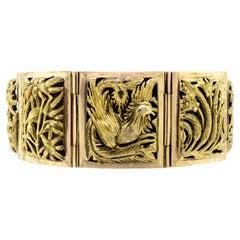 Alluring Midcentury 14 Karat Yellow Gold Chinoiserie Bracelet