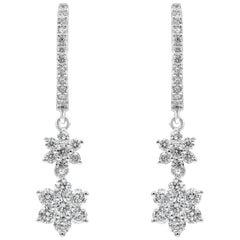 Roman Malakov, Cluster Diamond Flower Drop Earrings