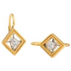 Estate Cathy Waterman Diamond Earrings Triangle 22 Karat Gold Platinum Jewelry