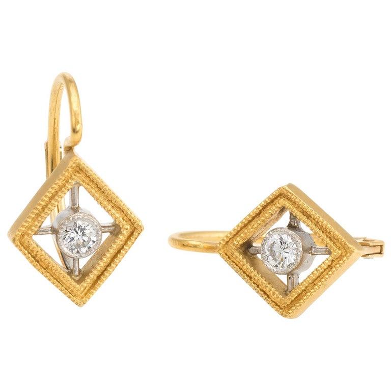 6395c50a079da Estate Cathy Waterman Diamond Earrings Triangle 22 Karat Gold Platinum  Jewelry