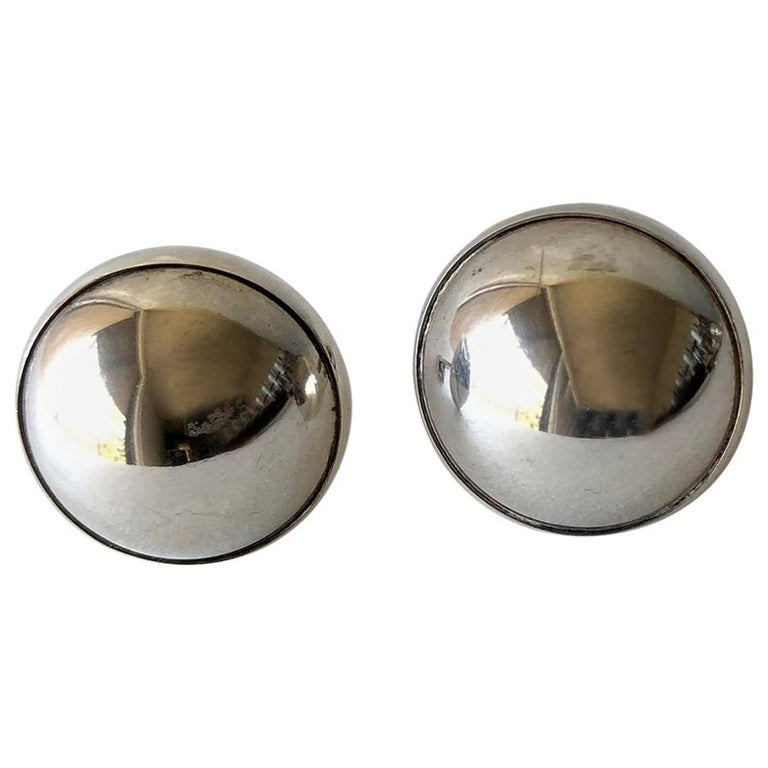 Niels Erik From Danish Modernist Sterling Silver Half Sphere Cufflinks For Sale
