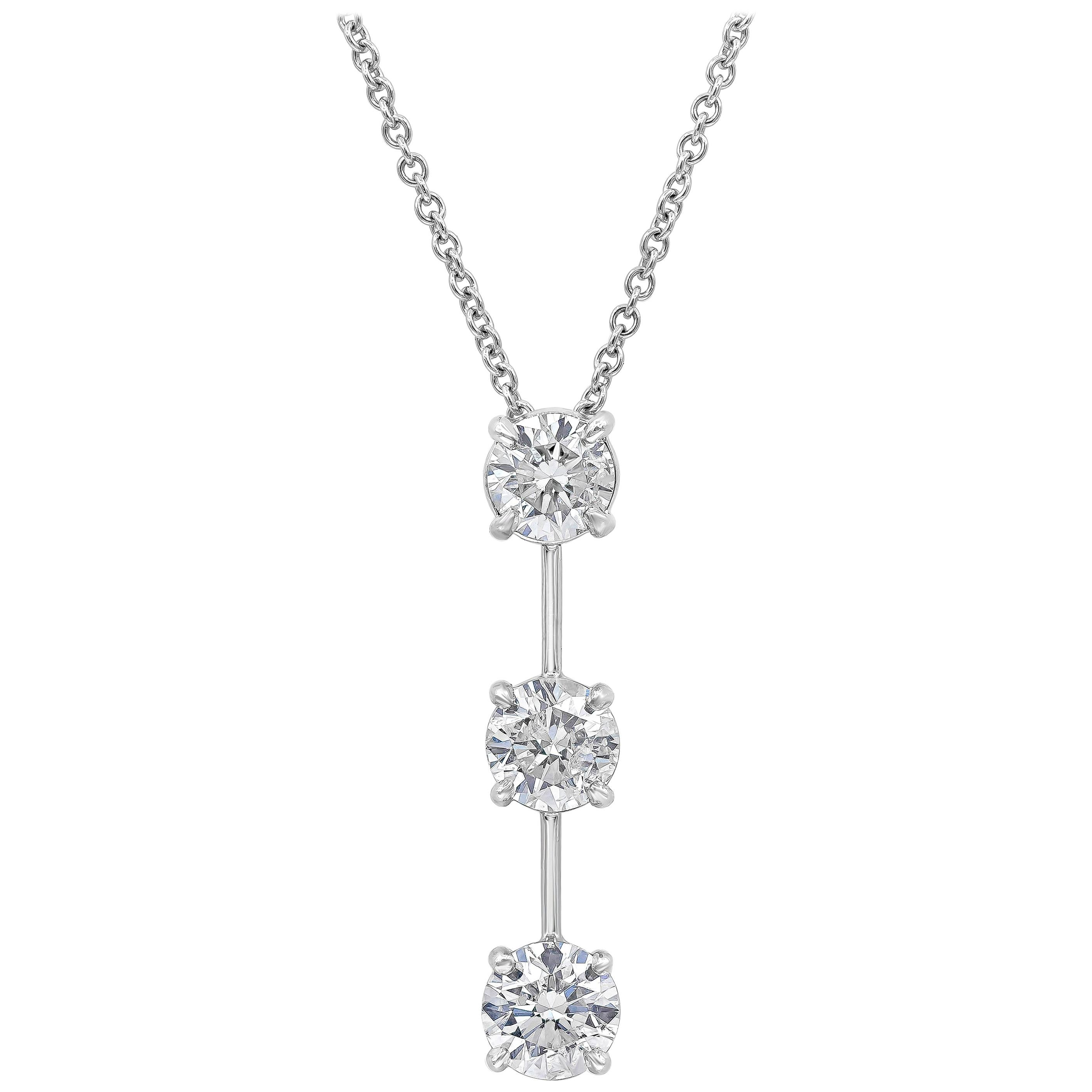 Roman Malakov 3.10 Carat Round Diamond Three-Stone Drop Pendant Necklace