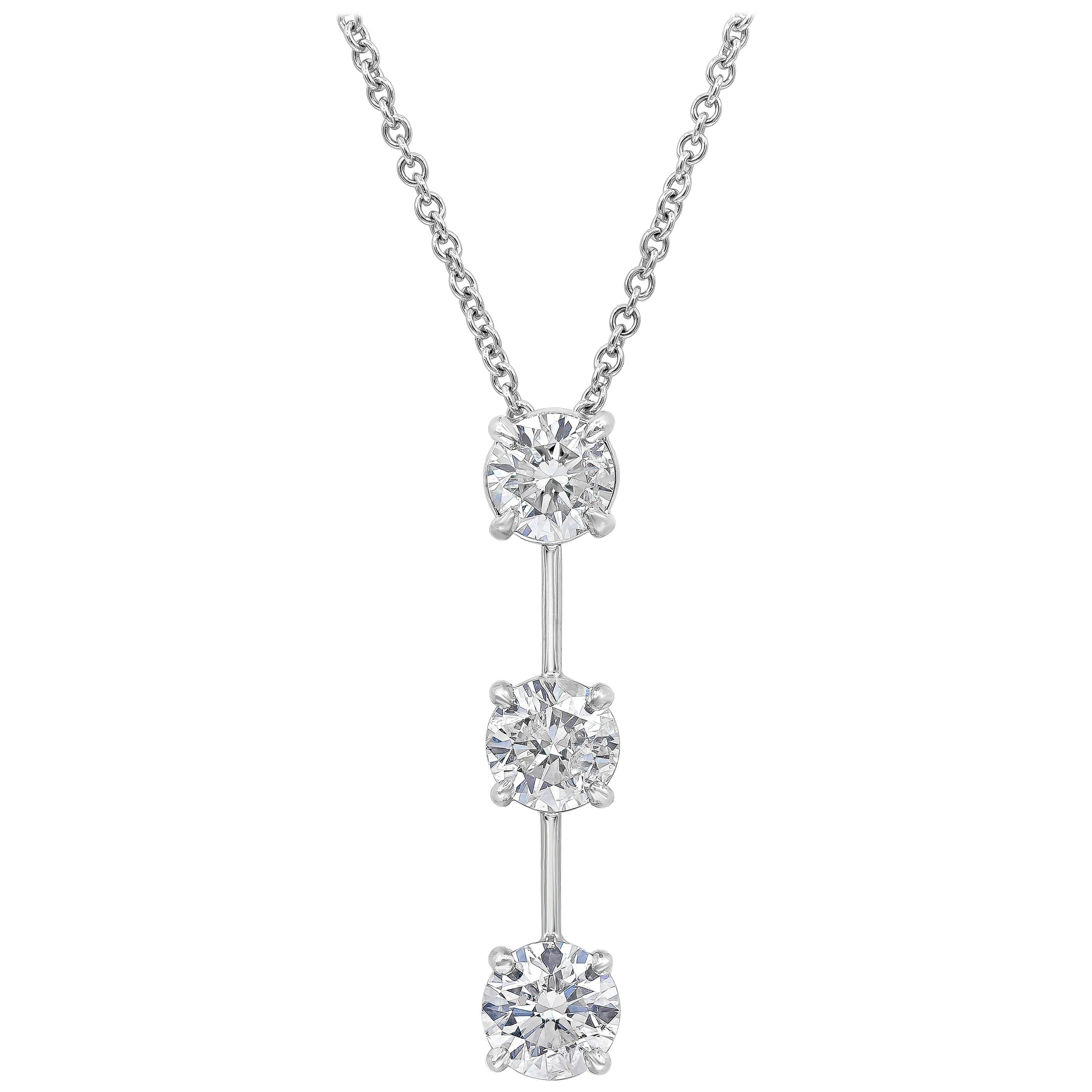 Roman Malakov 3.10 Carat Round Diamond Three-Stone Drop Pendant Necklace