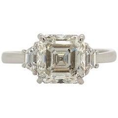 Square Emerald Cut Diamond Ring GIA 2.11 Carat I VS2