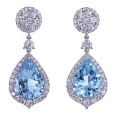 Leon Mege Aquamarine and Diamond Convertible Earrings with Detachable Studs
