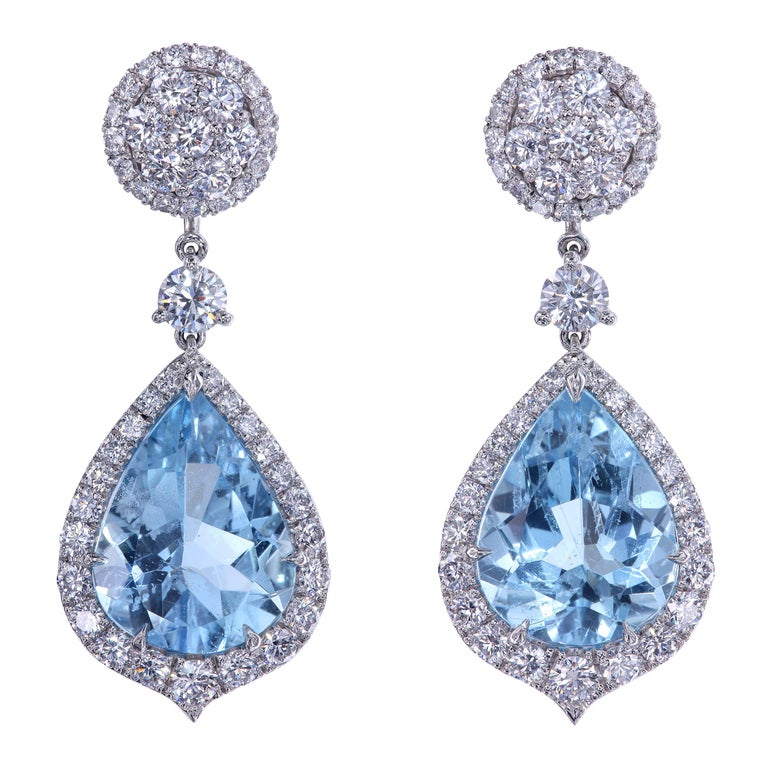 Leon Mege Aquamarine and Diamond Convertible Earrings with Detachable Studs For Sale