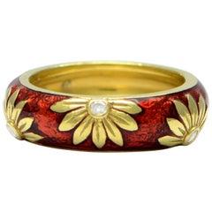 Solid 18 Karat Yellow Gold and Natural Diamond Enamel Flower Ring 7.6g