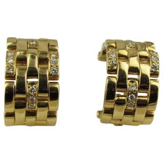 Signed Cartier 18 Karat Yellow Gold and Diamond Earrings