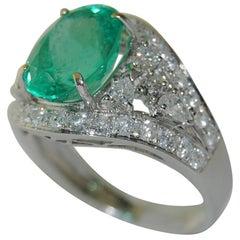 3.18 Carat Emerald with 1.27 Carat Diamond Ring