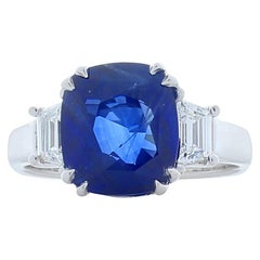 Emteem Certified 5.60 Carat Cushion Cut Blue Sapphire and Diamond Cocktail Ring