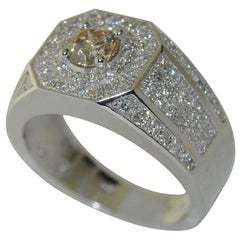 2.15 Carat Diamond Men's Ring, 14 Karat White Gold