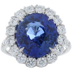 Emteem Certified 7.50 Carat Oval Blue Sapphire & Diamond Cocktail Ring In Plat