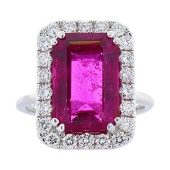 5.93 Carat Emerald Rubellite and Diamond Cocktail Ring in 18 Karat White Gold