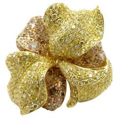 Estate 18 Karat Tricolor Gold Pave Diamond Flower Fashion Ring