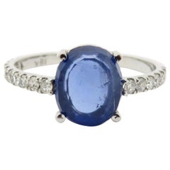 Estate Vintage 18 Karat White Gold Burmese Blue Sapphire and Diamond Ring