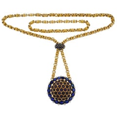 Gubelin Retro Diamond Sapphire Gold Necklace with Watch Pendant Interchangeable