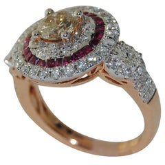18 Karat Gold Diamond and Ruby Cluster Ring